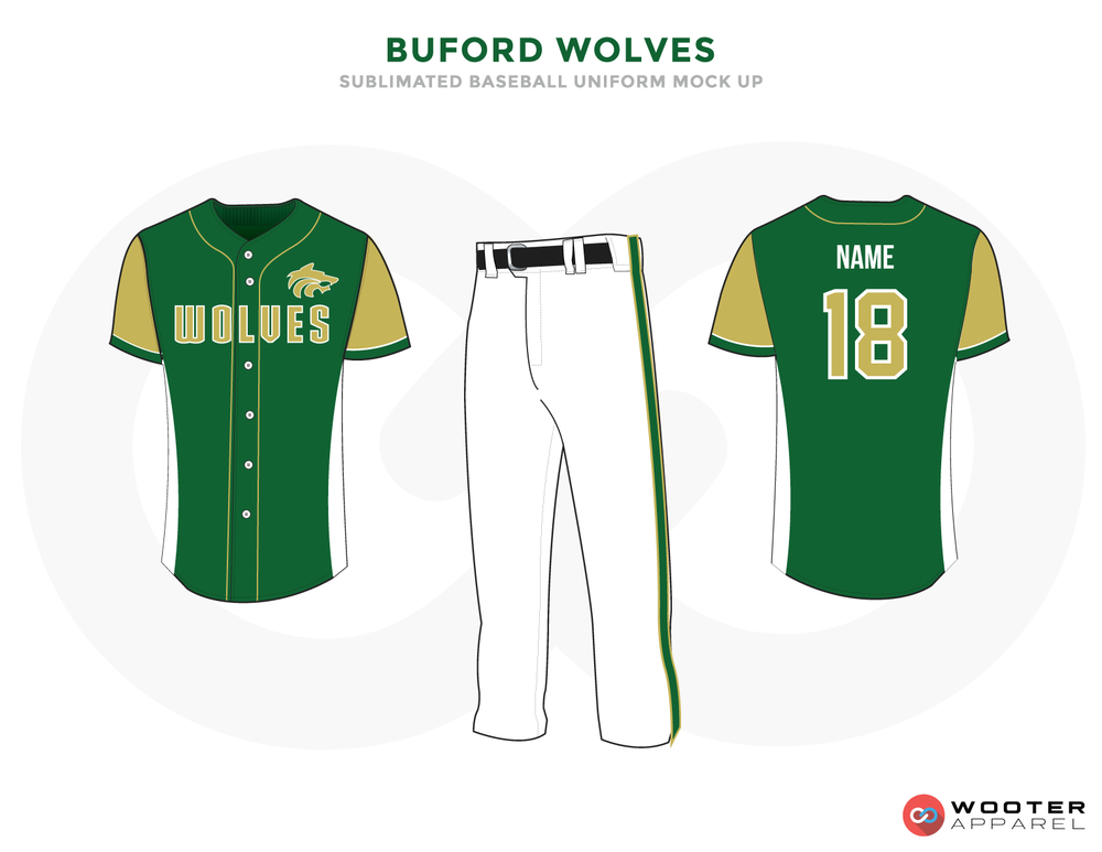 BUFORD WOLVES Green Bronze Black and White Baseball Uniforms,Jerseys and Pants