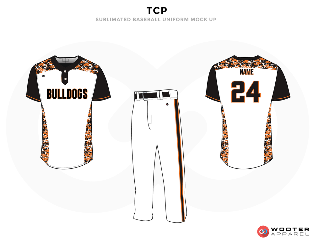 TCP White Black and Orange Baseball Uniforms,Jerseys and Pants