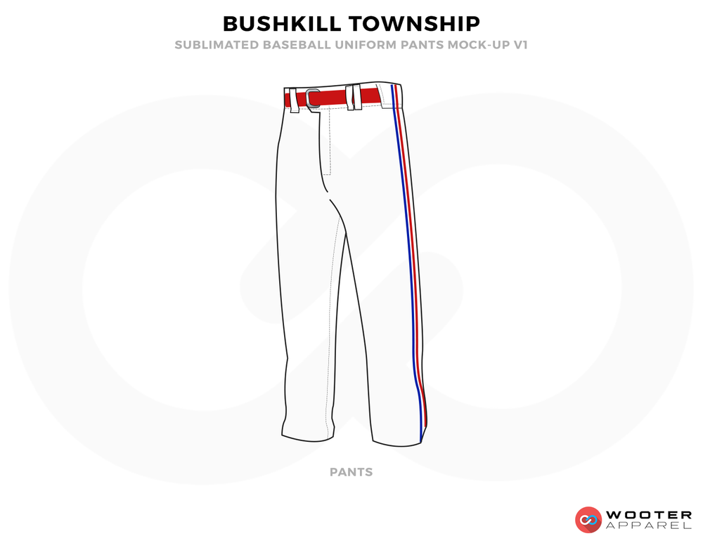 BUSHKILL TOWNSHIP White Blue and Red Baseball Uniforms,Pants