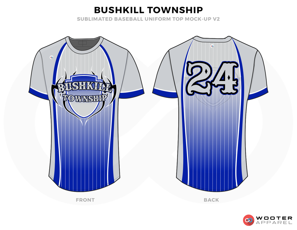 BUSHKILL TOWNSHIP Blue Grey and Black Baseball Uniforms,Jerseys