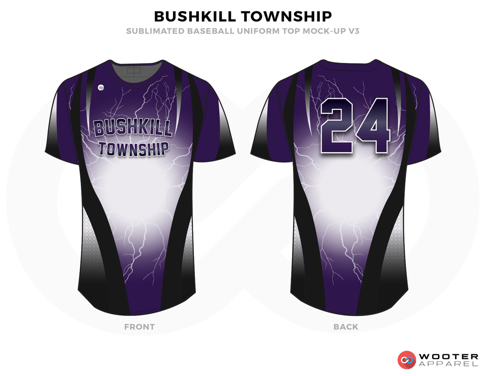 BUSHKILL TOWNSHIP Black Purple and White Baseball Uniforms,Jerseys