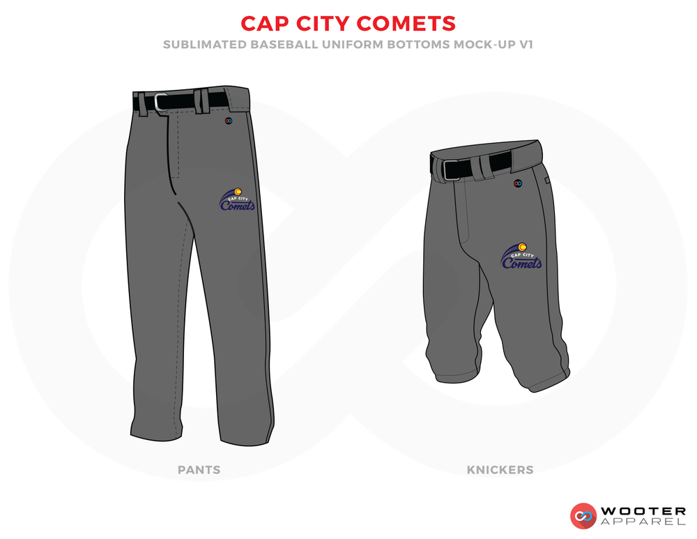 CAP CITY COMETS Grey Yellow and Black Baseball Uniforms, Pants and Shorts