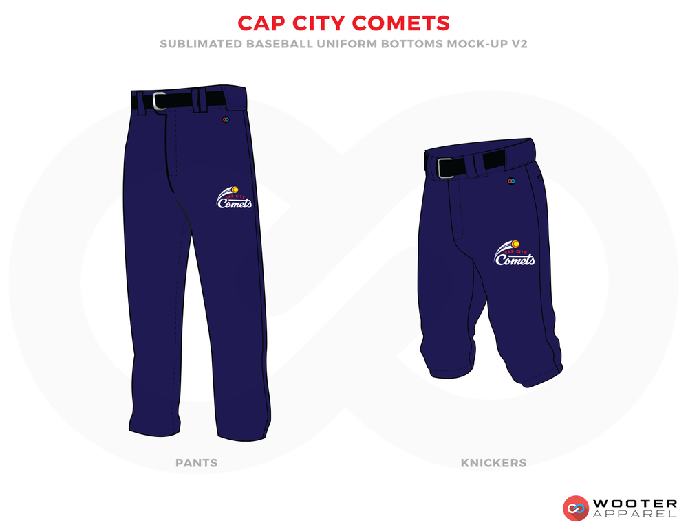 CAP CITY COMETS Dark Blue Yellow and White Baseball Uniforms,Pants and Shorts
