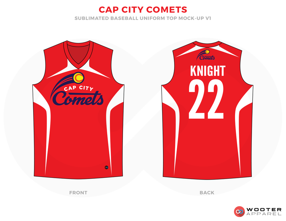CAP CITY COMETS Red White Yellow and Black Baseball Uniforms,Jerseys