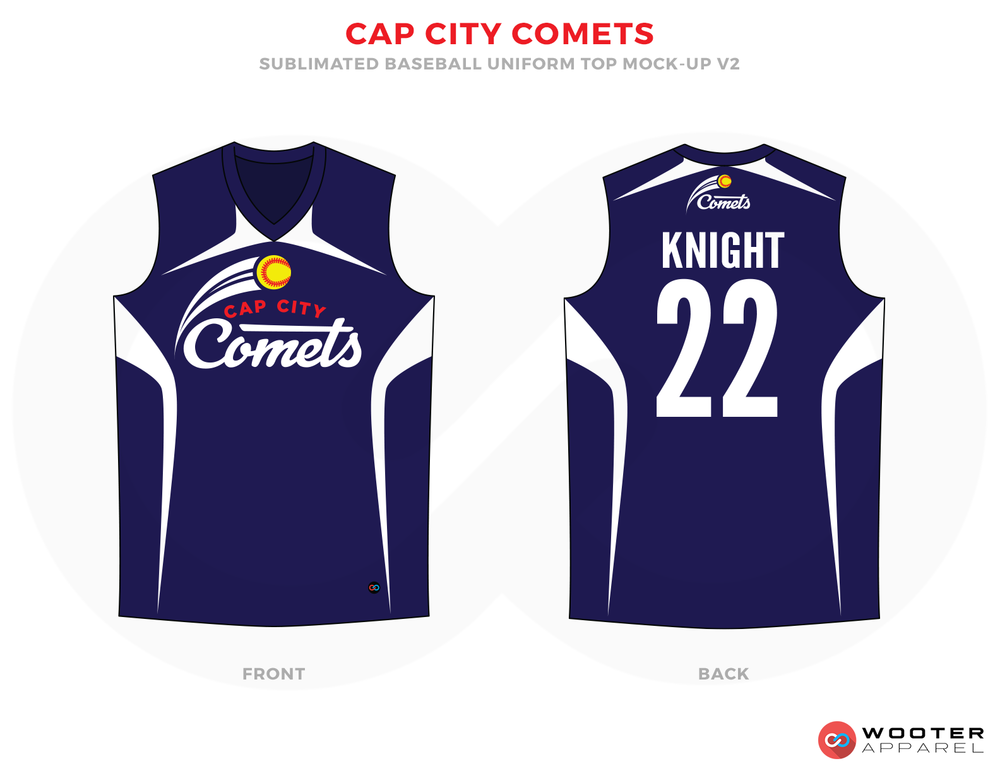 CAP CITY COMETS Blue Yellow Red and White Baseball Uniforms, Jerseys