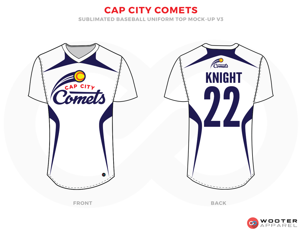 CAP CITY COMETS White Blue Yellow and Red Baseball Uniforms,Jerseys
