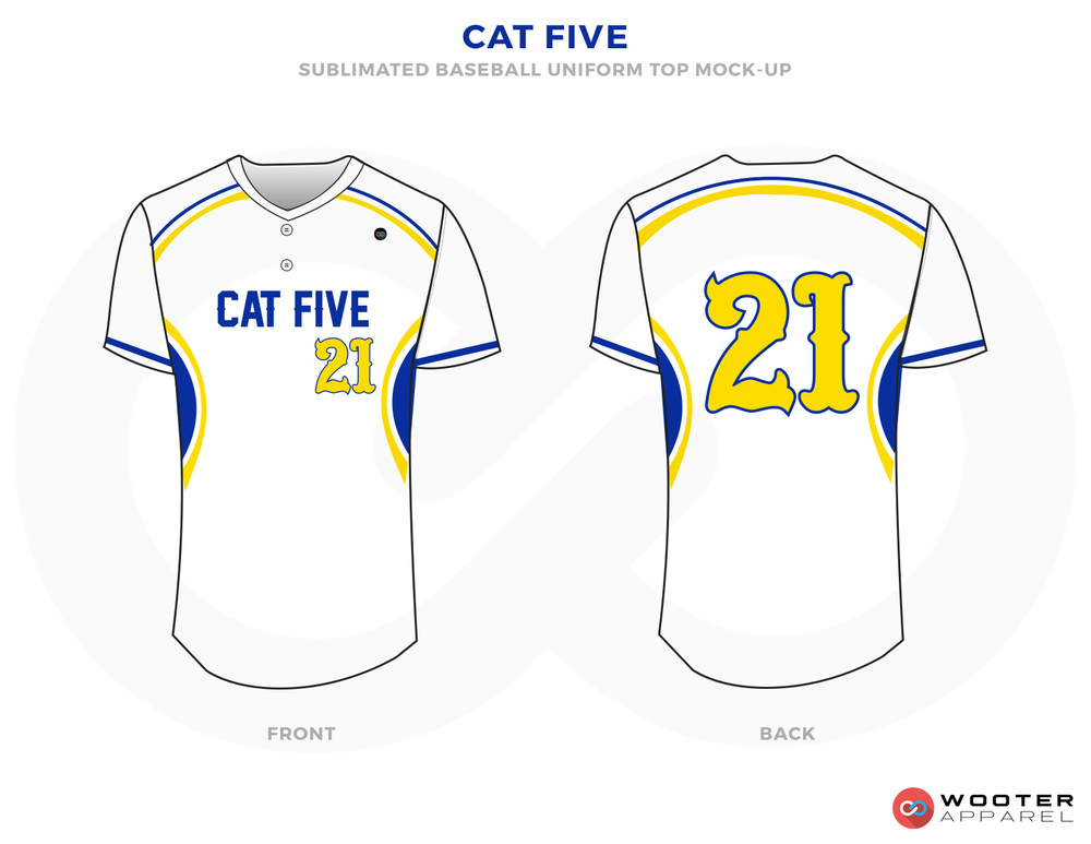 CAT FIVE White Yellow and Blue Baseball Uniforms,Jerseys