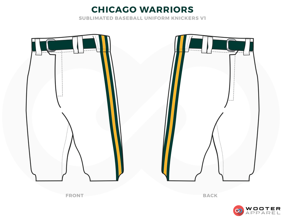 CHICAGO WARRIORS White Green and Yellow Baseball Uniforms,Shorts
