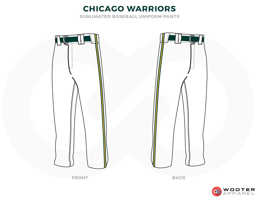 CHICAGO WARRIORS White Green and Black Baseball Uniforms,Pants