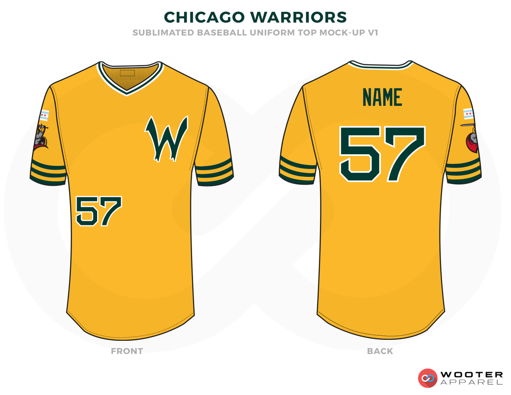 CHICAGO WARRIORS Golden Blue Green Red and Blue Baseball Uniforms,Jerseys