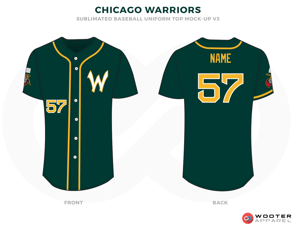 CHICAGO WARRIORS  Green Yellow Red and White Baseball Uniforms,Jerseys