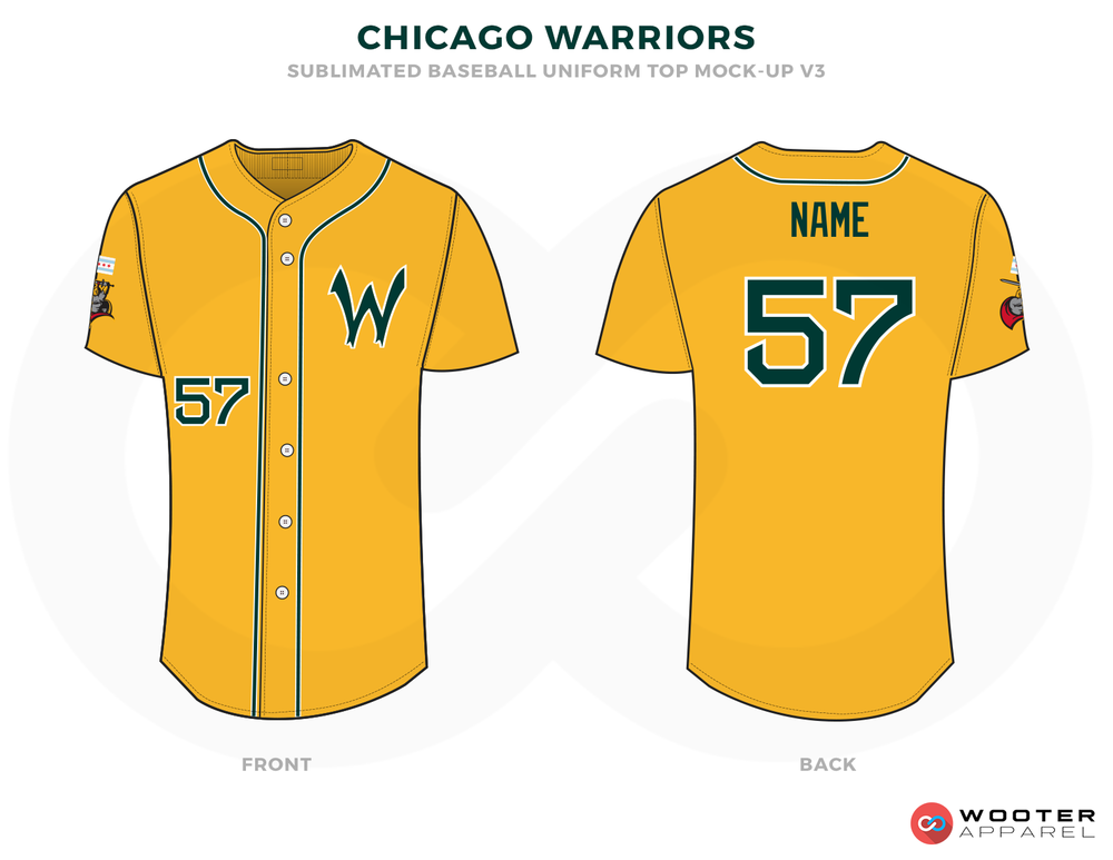 CHICAGO WARRIORS  Golden Green and Red Baseball Uniforms,Jerseys