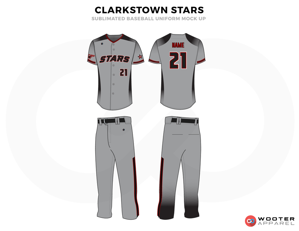 CLARKSTOWN STARS Grey and Red Baseball Uniforms, Shirt and Pents