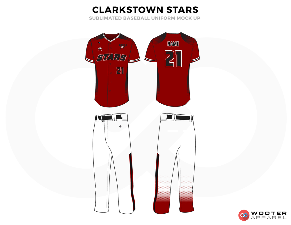 CLARKSTOWN STARS Red Blue and White Baseball Uniforms, Shirt and Pants