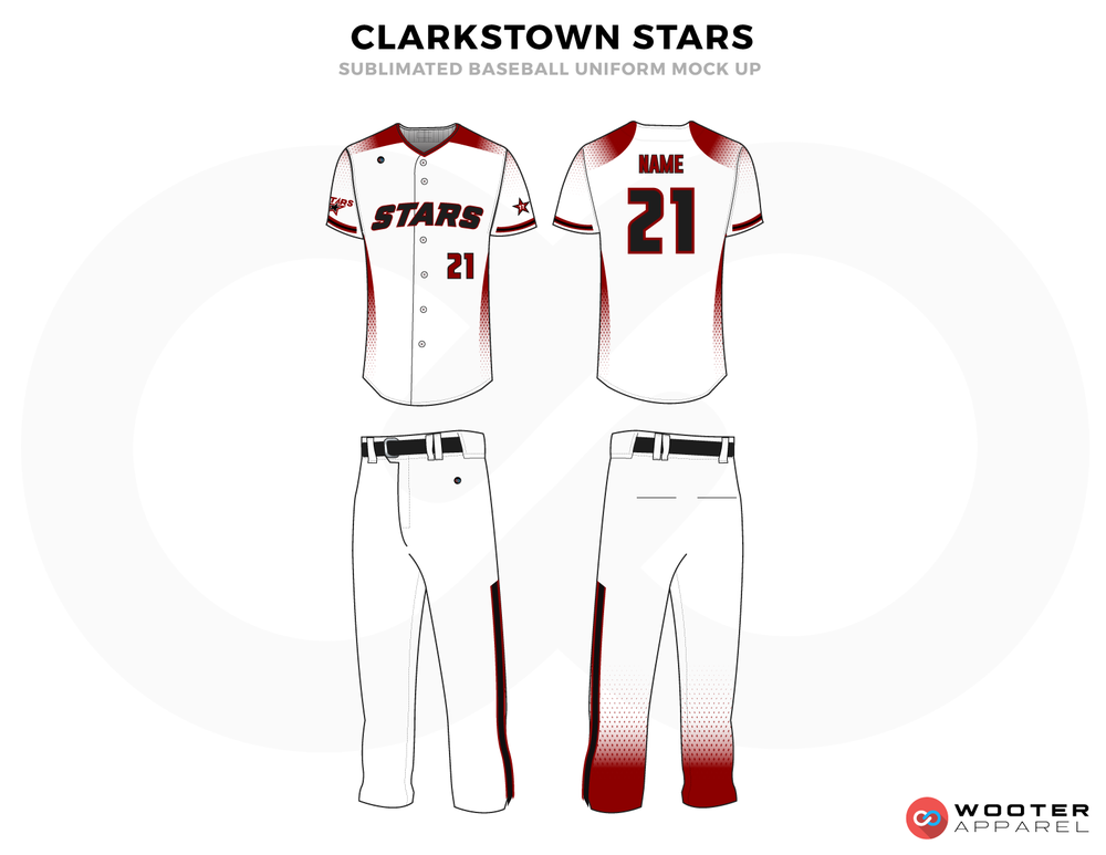CLARKSTOWN STARS Red Black and White Baseball Uniforms, Shirt and Pants