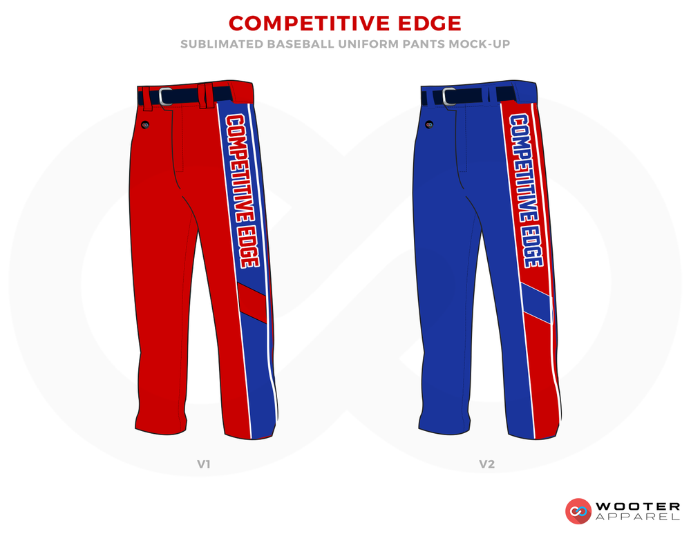 COMPETITIVE EDGE Red and Blue Baseball Uniforms, Pants