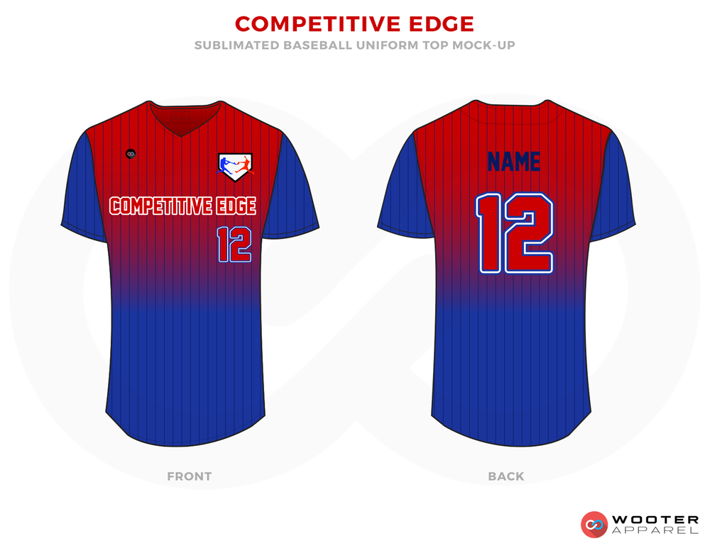 COMPETITIVE EDGE Red and Blue Baseball Uniforms, Shirts