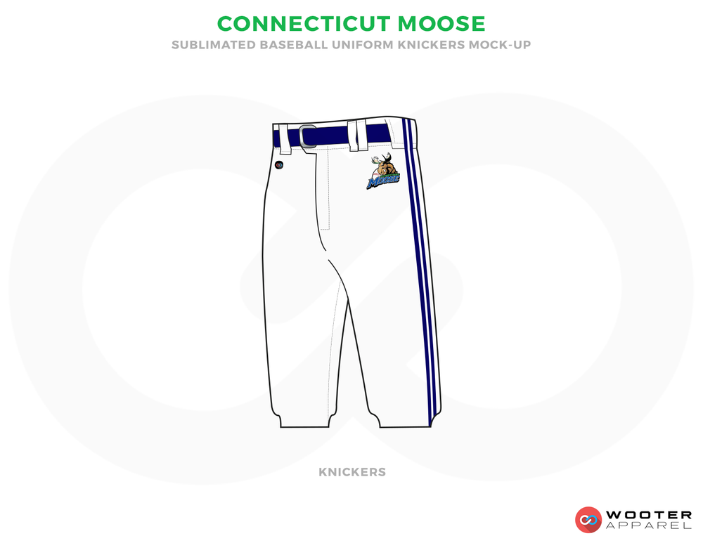 CONNECTICUT MOOSE White and Blue Baseball Uniforms, Shorts