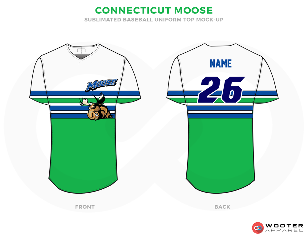 CONNECTICUT MOOSE Green Blue and White Baseball Uniforms, Shirts