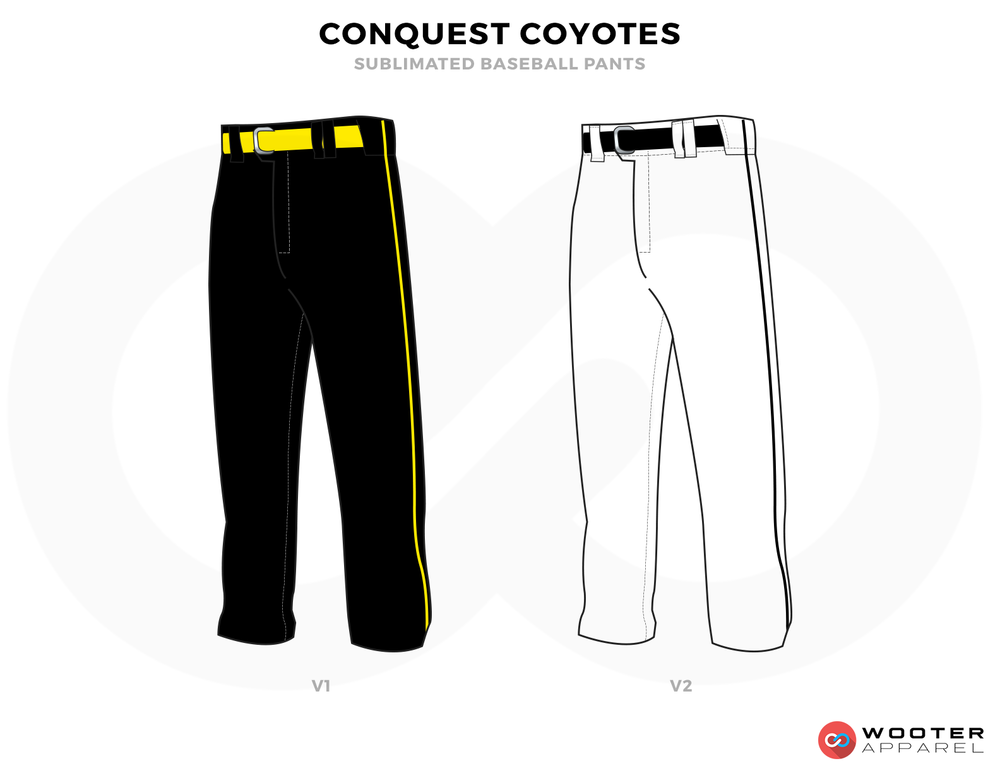 CONQUEST COYOTES Black White and Yellow Baseball Uniforms, Pants