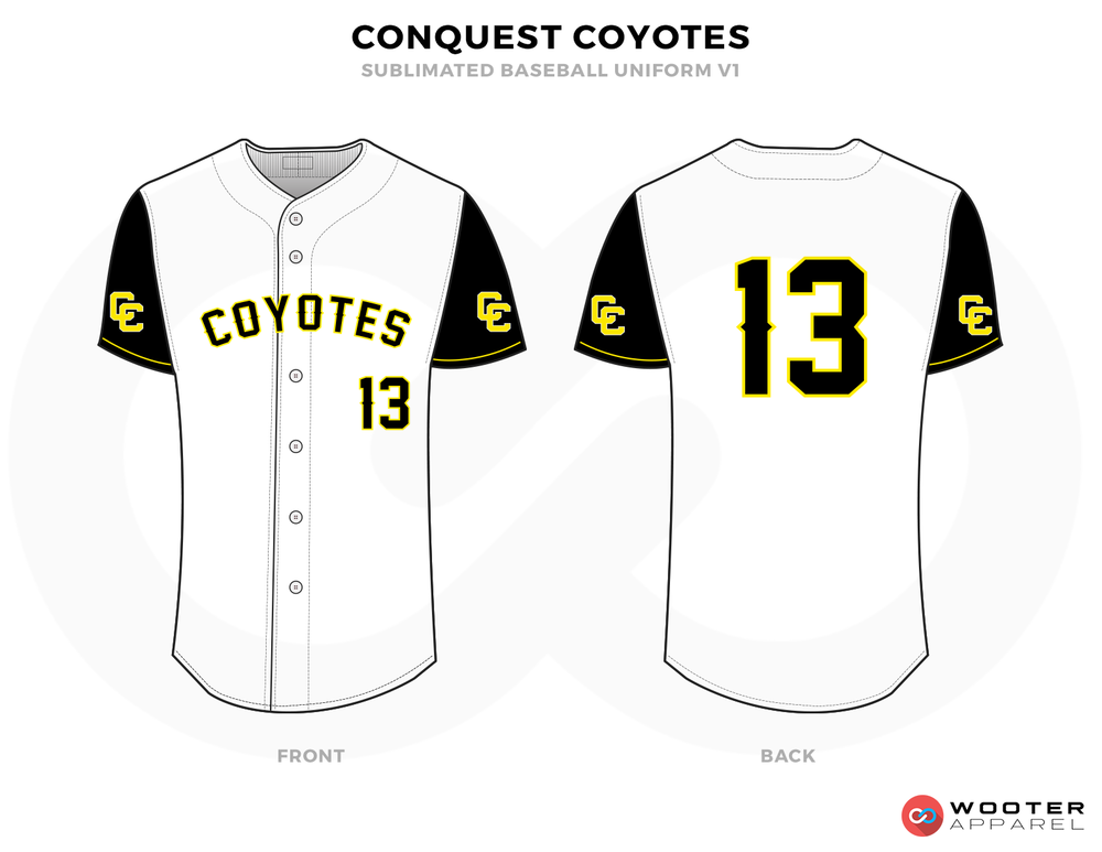 CONQUEST COYOTES White, Black and Yellow Baseball Uniforms, Shirts