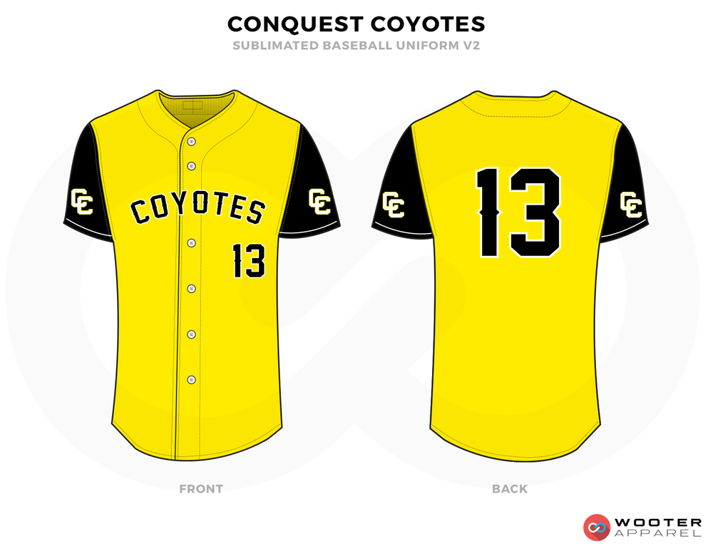 CONQUEST COYOTES Yellow Black and White Baseball Uniforms, Shirts