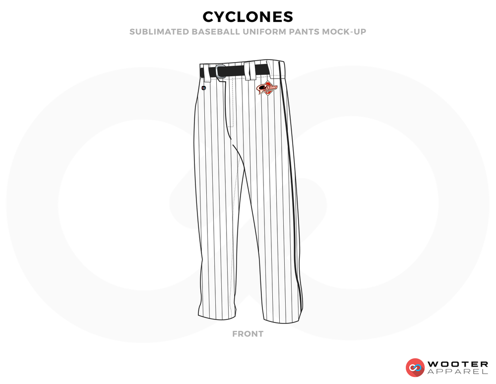 CYCLONES White Red and Black Baseball Uniforms, Pants