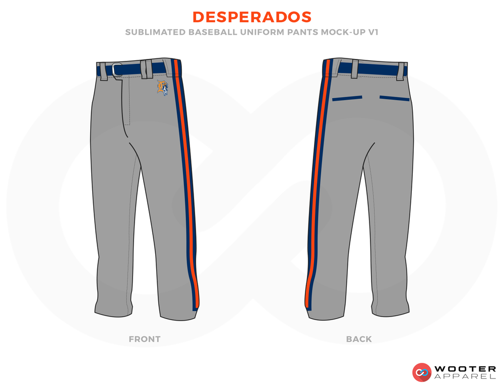 DESPERADOS Grey Red and Blue Baseball Uniforms, Pants