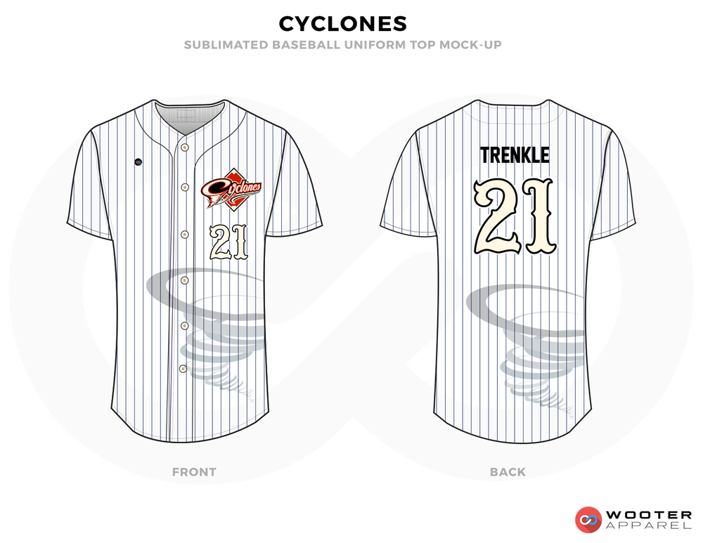 CYCLONES White Black Red and Gray Baseball Uniforms, Shirts