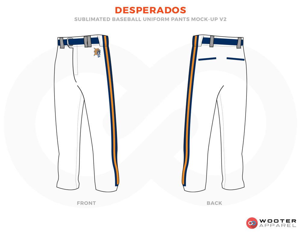 DESPERADOS White Blue and Orange Baseball Uniforms, Pants