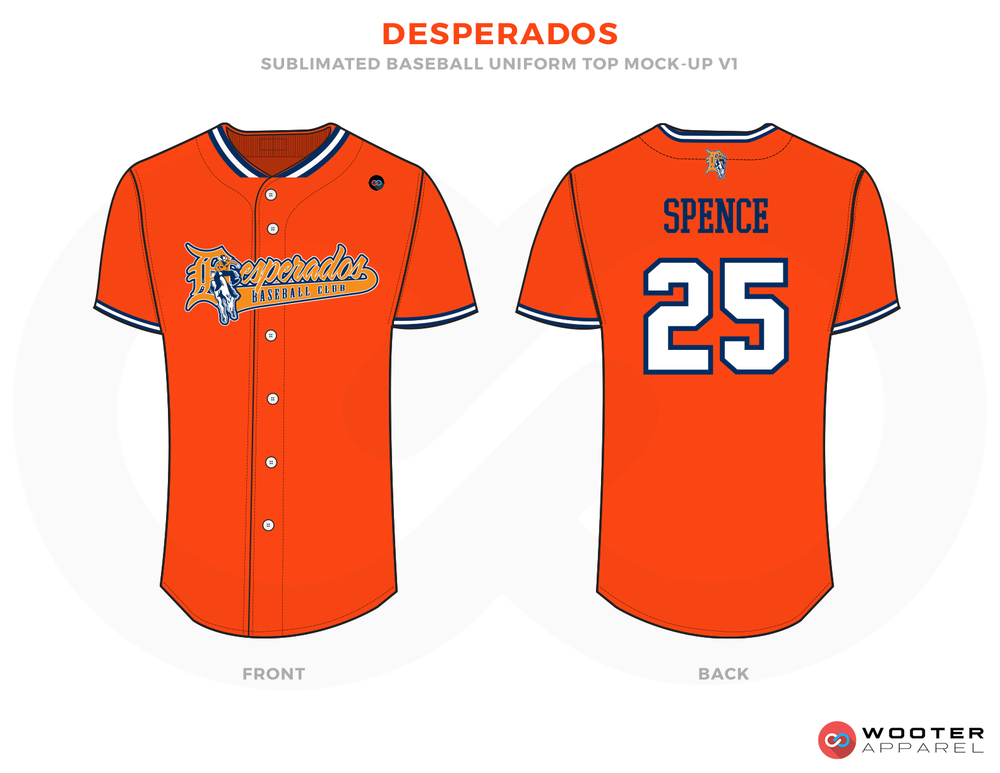 DESPERADOS Orange, White and Blue Baseball Uniforms, Shirts