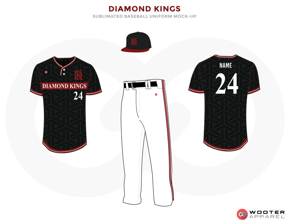 DIAMOND KINGS Black, White and Red Baseball Uniforms, Shirt, Pant and Caps