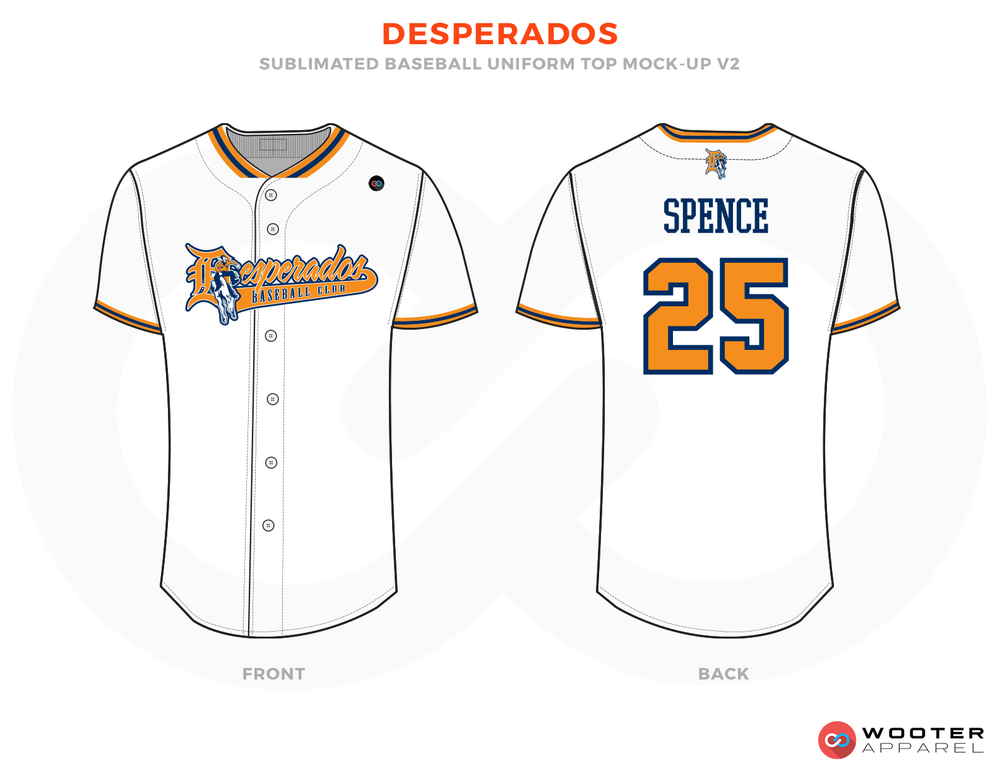 DESPERADOS White Orange and Blue Baseball Uniforms, Shirts
