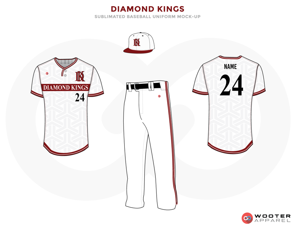 DIAMOND KINGS White, Black and Red Baseball Uniforms, Shirt, Cap and Pants
