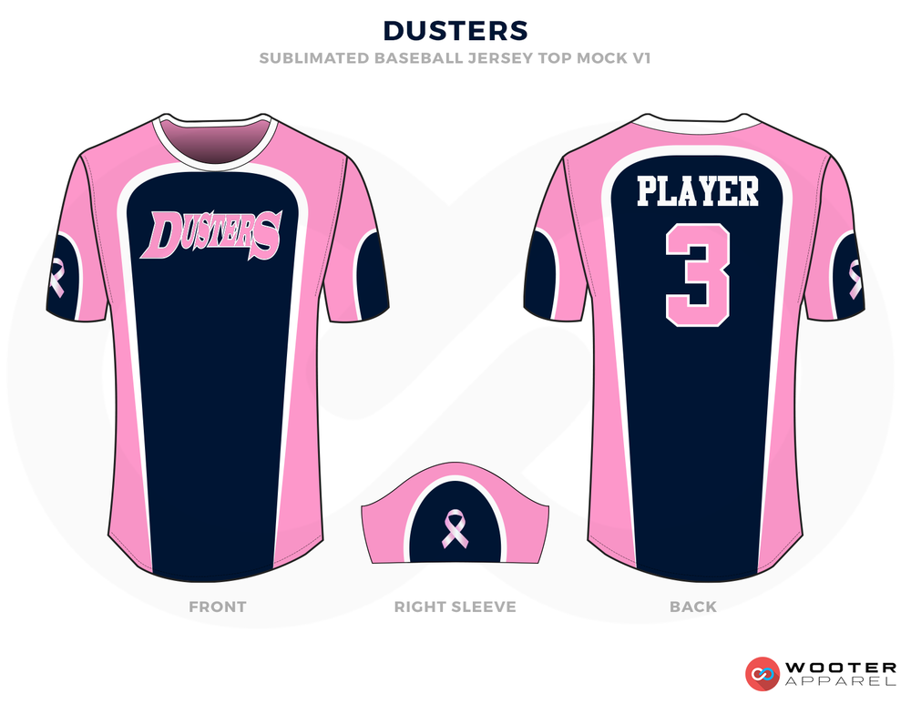 DUSTERS Pink, Blue and White Baseball Uniforms, Shits and Cap