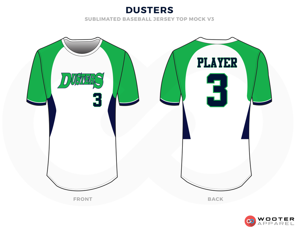 DUSTERS Green Black Blue and White Baseball Uniforms, Shirts
