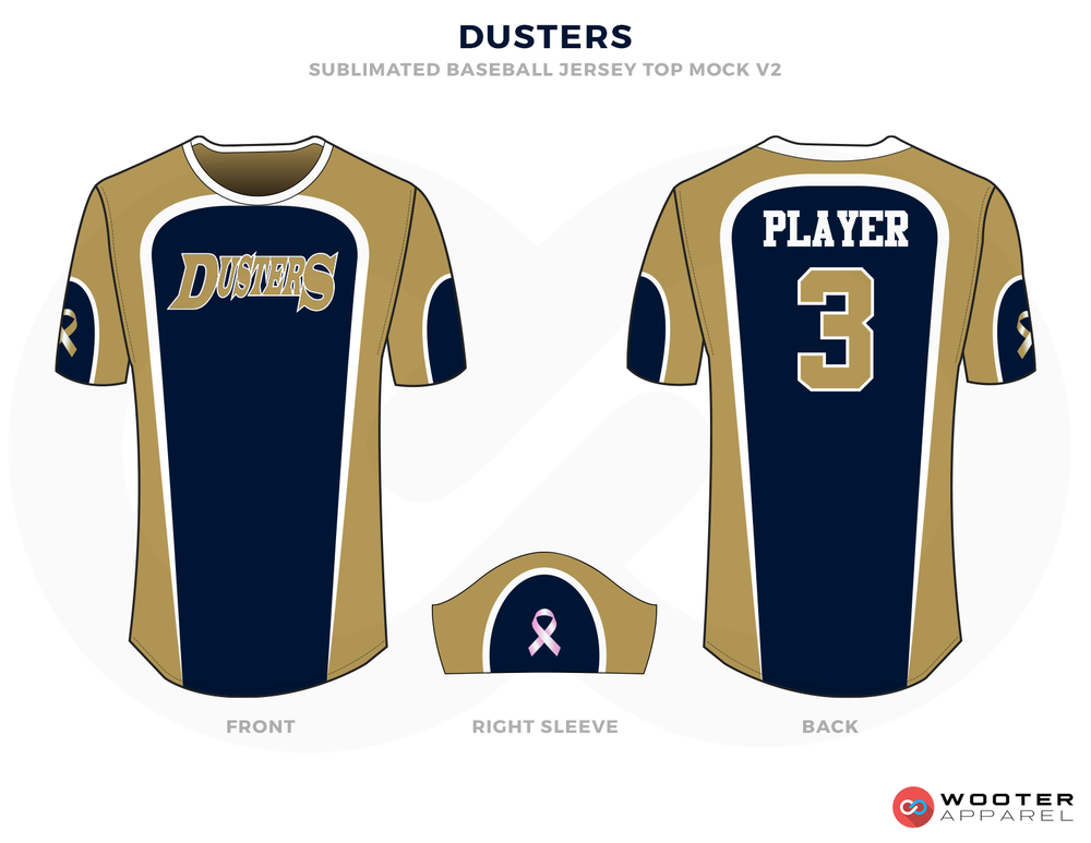 DUSTERS Brown Blue and White Baseball Uniforms, Shirts and Cap