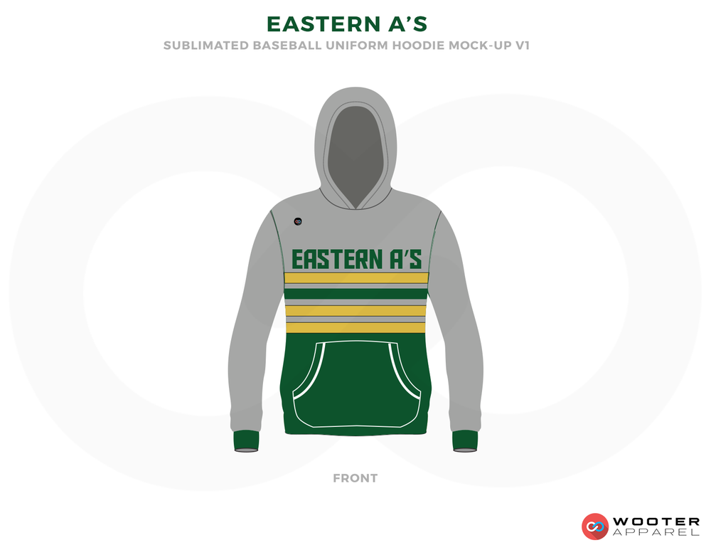 EASTERN A'S Green Yellow White and Gray Baseball Uniforms, Shirts