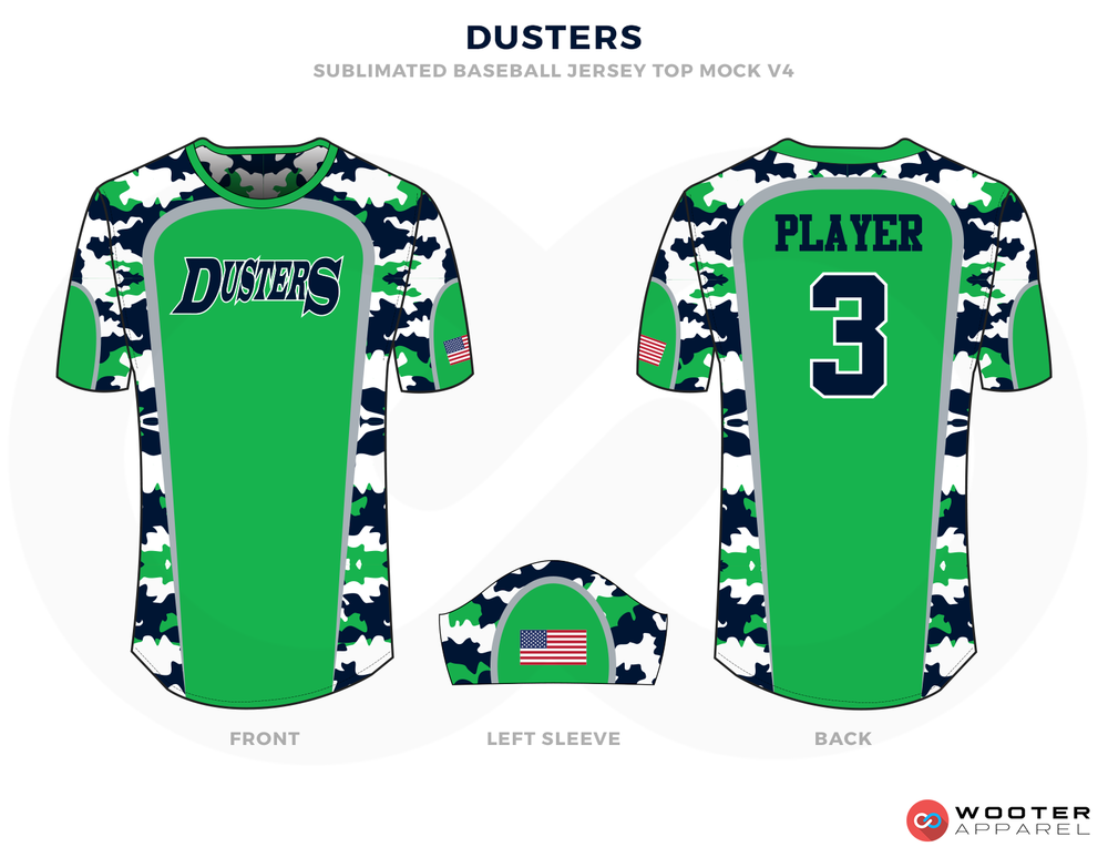 DUSTERS Green, Blue White Baseball Uniforms, Shirt and Caps