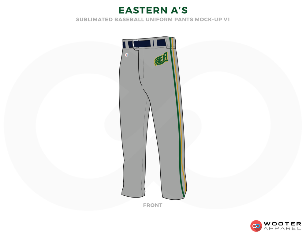 EASTERN A'S Gray Green and Black Baseball Uniforms, Pants