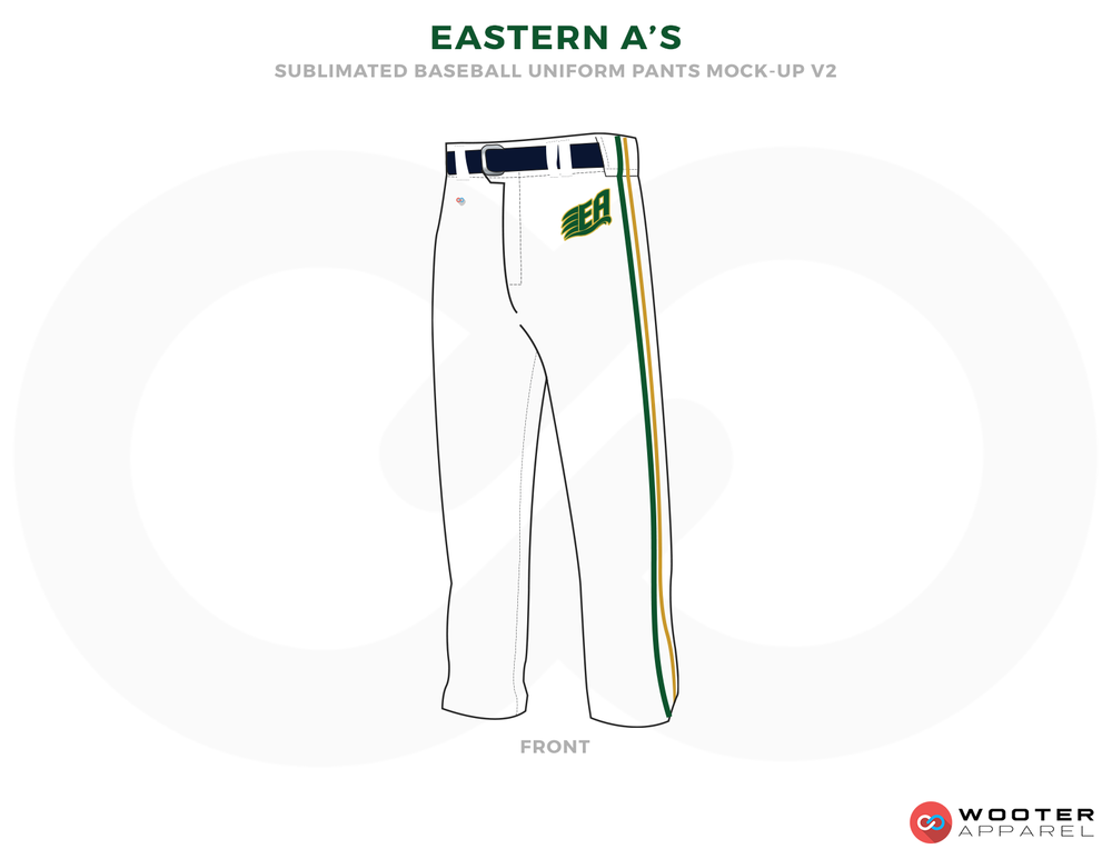 EASTERN A'S White, Black and Green Baseball Uniforms, Pants