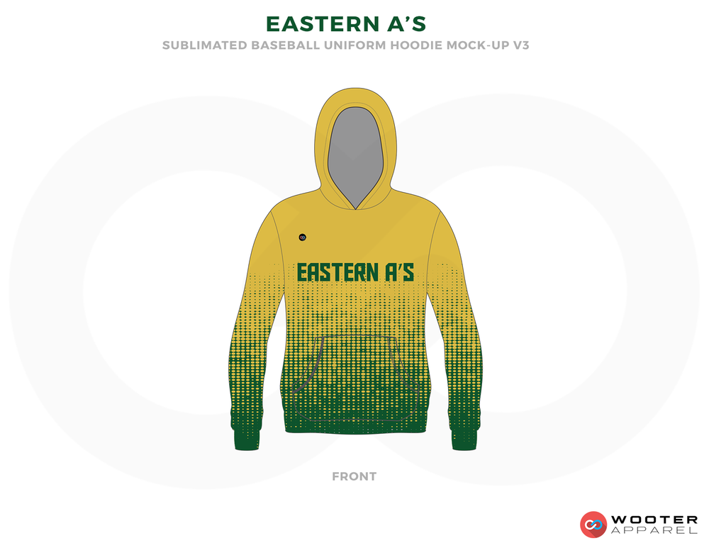 EASTERN A'S Yellow and Green Baseball Uniforms, Shirts