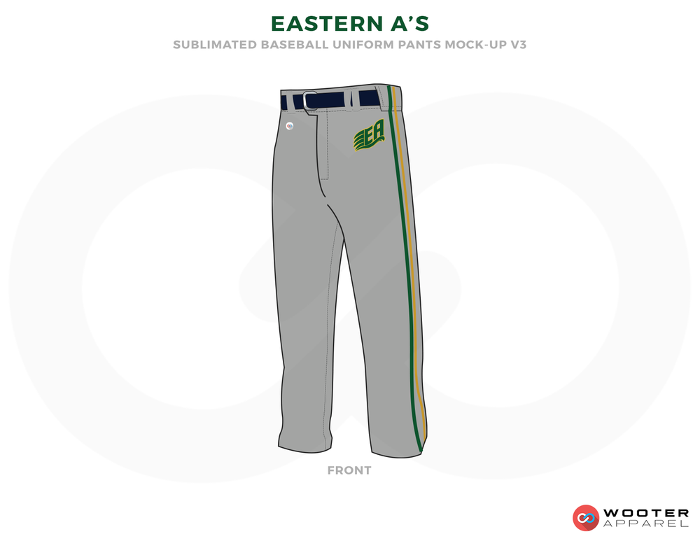 EASTERN A'S Gray Black and Green Baseball Uniform, Pants