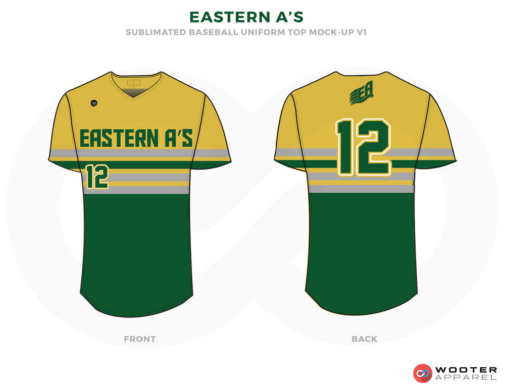EASTERN A'S Green Yellow and Gray Baseball Uniforms, Shirts