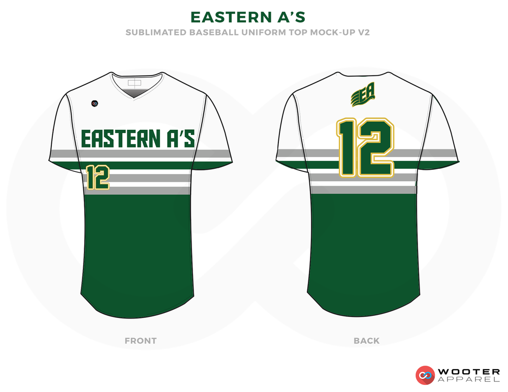 EASTERN A'S White Green and Yellow Baseball Uniforms, Shirts