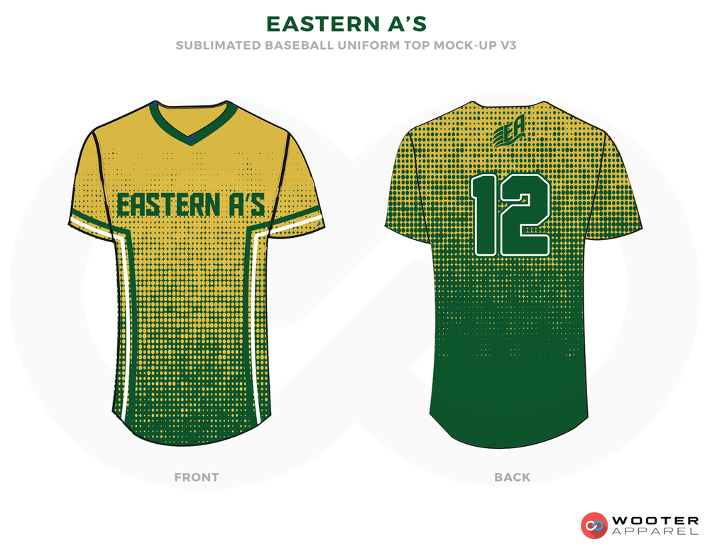 EASTERN A'S Green Yellow and White Baseball Uniforms, Shirts