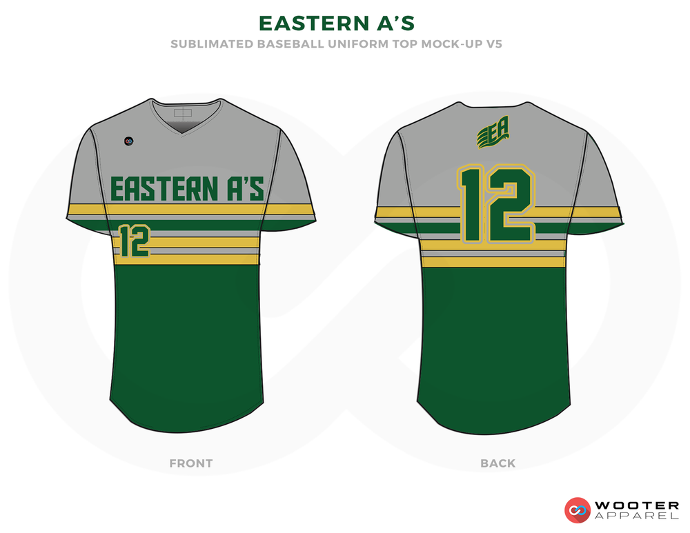 EASTERN A'S Gray Yellow and Green Baseball Uniforms, Shirts