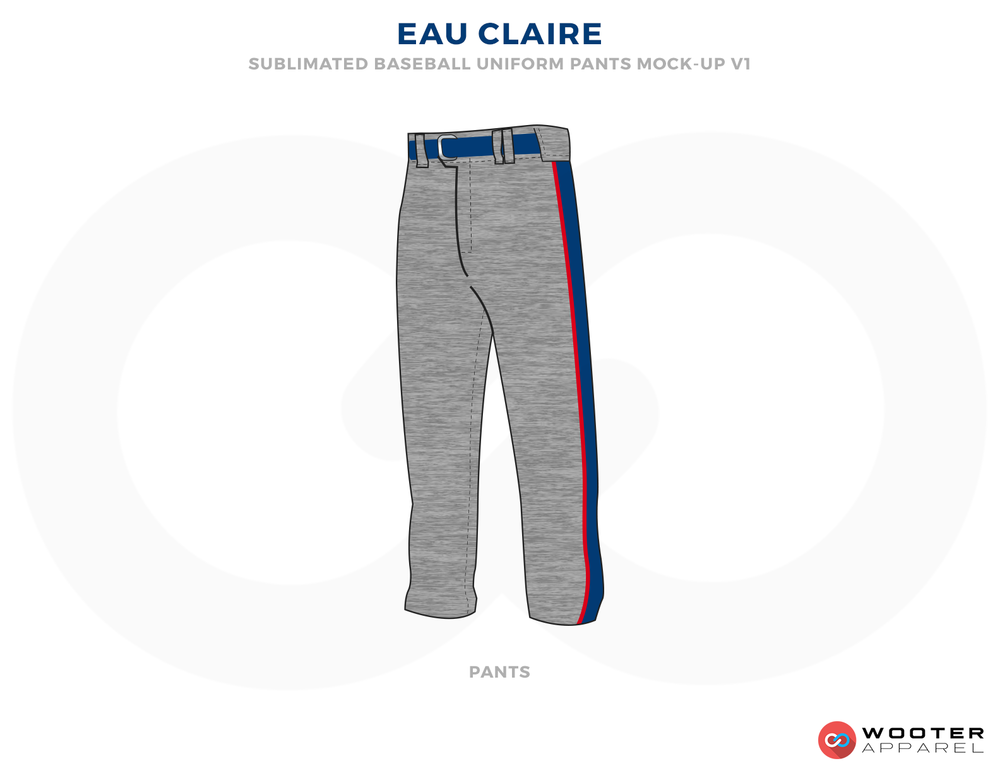 EAU CLAIRE Gray Blue and Red Baseball Uniforms, Pants