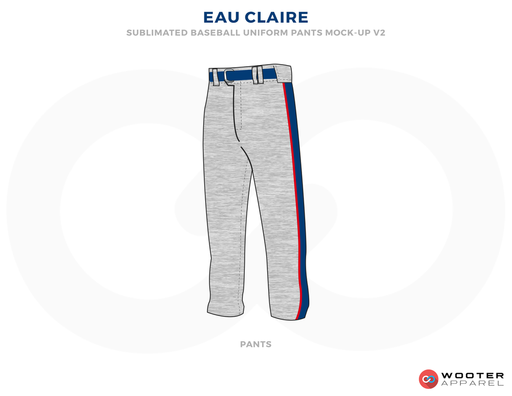 EAU CLAIRE Blue Gray and Red Baseball Uniforms, Pants