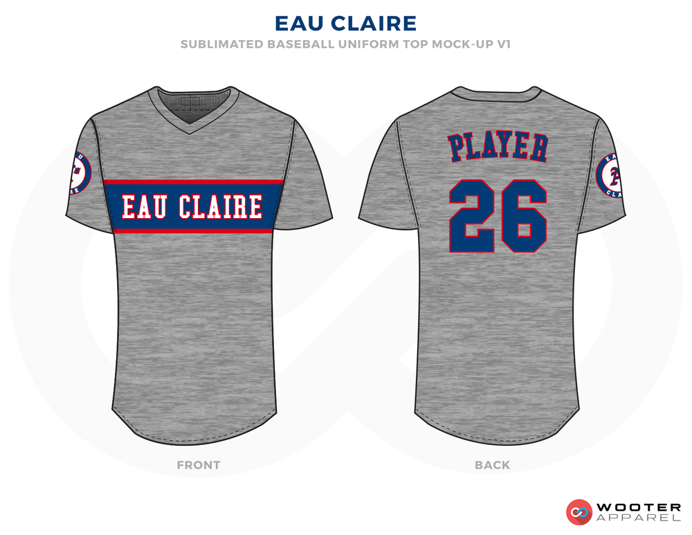 EAU CLAIRE Gray Blue and Red Baseball Uniforms, Shirts